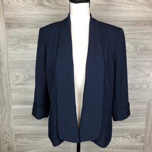 Jones Studio Navy Blue Open Folded Cuff Blazer